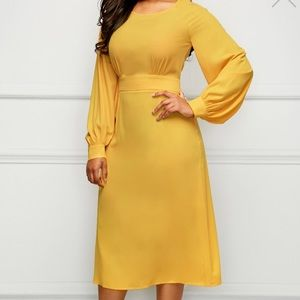 Yellow Band Waist Long Sleeve Midi Dress